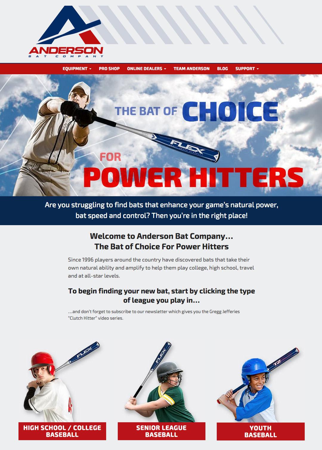 Anderson Bat Website - Homepage